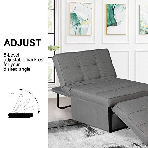 Convertible Sofa Bed Ottoman Sleeper Sofa Bed, 4 in 1 Convertible Chair Multi-Function Folding Sleeper Guest Bed Folding Lounge Chair Ottoman Sofa Bed with 5-Level Adjustable Backrest(Light Grey)