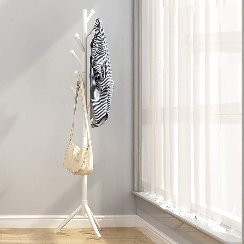 Floor Coat Rack Hanger Bedroom Hanger Clothes Rack Solid Wood Simple Bed Simple Office Floor,White