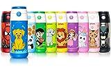 Jarlson Trinkflasche Kinder - Thermo Edelstahl Wasserflasche 350ml - BPA frei - auslaufsicher - Kinderflasche mit Strohhalm - Flasche für Schule, Kindergarten, Fahrrad (Hund, 350 ml)