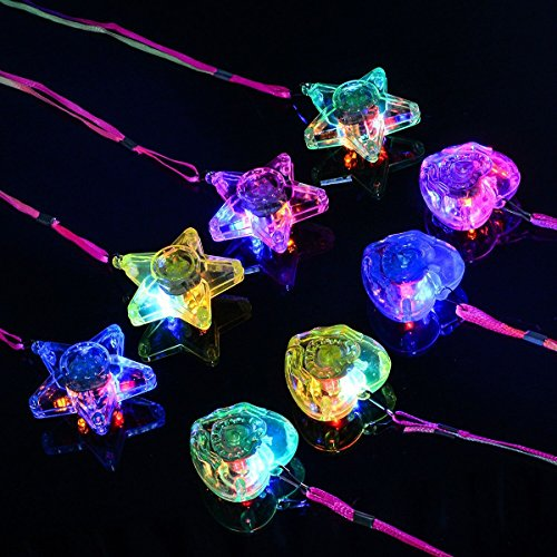 Tinksky 8PCS Bunte LED Sparkle Kunststoff Halskette und glänzende Anhänger (4PCS Pentacle Star und 4PCS Herzform)