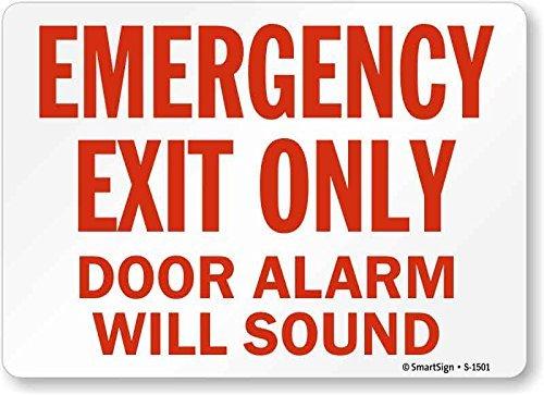 qidushop Home Decor Schild von S 1501 PL 14 Notausgang Türalarm ertönt rot auf weißem Metallschild für drinnen und draußen, einfach zu montieren, 25 x 35 cm