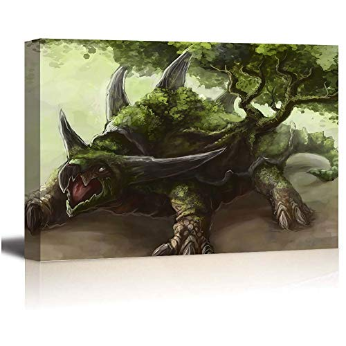 SSKJTC - Pintura de pared para plantas de hierba Pokémon, diseño de tortuga de tierra, estirada y enmarcada, lista para colgar 36 x 24 pulgadas