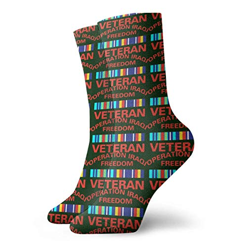 Operation Iraqi Freedom (OIF) Veteran Funny Novelty Casual Crew Dress Socks for Womens Unisex 30 cm