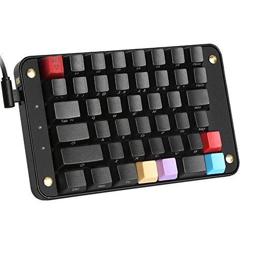 Koolertron Single-Handed Programmable Mechanical Keyboard, All 44 Programmable Keys Tools Keypad with OEM Gateron Red Switch, 8 Macro Keys, PBT Front Side Print Keycaps - [SMKD82]
