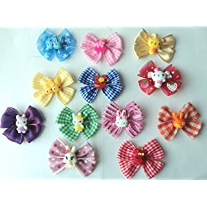 Pack of 12 Dog Hair Boutique Bows Large 2.5 inch size, Great for Easter/Spring/Summer designed and handmade exclusively by PET Expressions