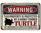 Générique Panneau en métal – Warning Property Protected by Turtle – Panneau en métal Durable – Utilisation intérieure/extérieure – Fait Une Grande et drôle de Ferme