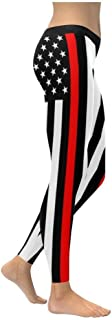 Thin Red Line USA Patriotic Firefighter UPF40+ Non See Through Womens Leggings