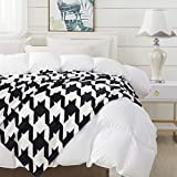 COCOPLAY W Black Plaid Throw Blanket, White Checkered Throw Blanket 50×60 Inches, All Season Microfiber Velvet Super Luxury Lightweight Warm Soft Cozy Blanket for Bed, Couch, Car