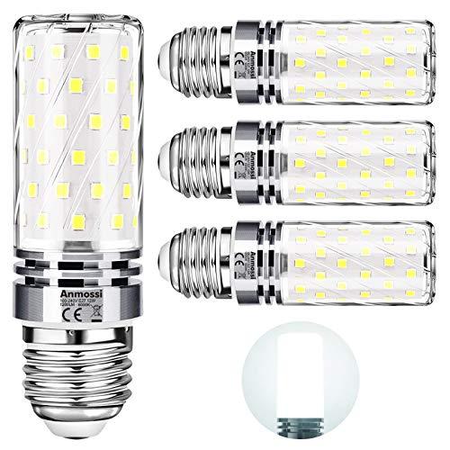 Bombillas LED E27,Anmossi 12W LED Maíz Bombilla Equivalente a 100W Incandescente Bombilla,6000K Blanco Frio,1200Lm,No Regulable,Edison Tornillo Bombillas,4 unidades