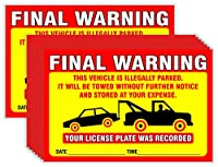 ファイナル警告ステッカー(50枚入り)駐車違反通知車両は違法駐車中 Lサイズ 6インチ x 9インチ イエロー