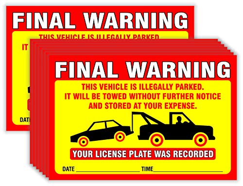 Final Warning Stickers (Pack of 50) Parking Violation Notice Vehicle is Illegally Parked - Large Size 6' X 9' – Yellow