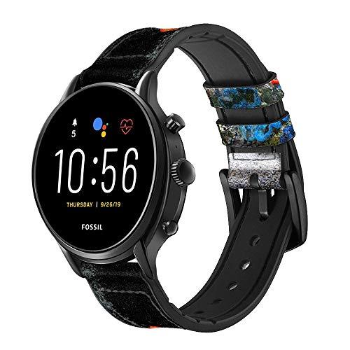 Innovedesire Aquarium Smart Watch Armband aus Leder und Silikon für Fossil Wristwatch Größe (20mm)