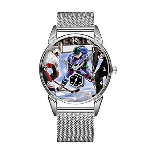 Mode wasserdicht Uhr minimalistischen Persönlichkeit Muster Uhr -444. Hockey Spieler und Schiedsrichter Stehen vor