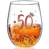 Copa de Vino de 50 Cumpleaños Copa de Vino Divertida sin Tallo Fabuloso Taza para Beber de Oro Rosa para Decoraciones de Fiesta de Aniversario Bodas de 50 Cumpleaños, 17 onzas