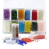 ZIIYAN Approx 11000pcs 3mm Glass Seed Beads, Small Pony Beads Assorted Kit with Removable Organizer Box for Jewelry Making, Beading, Crafting, 24colors, About 460pcs per Color