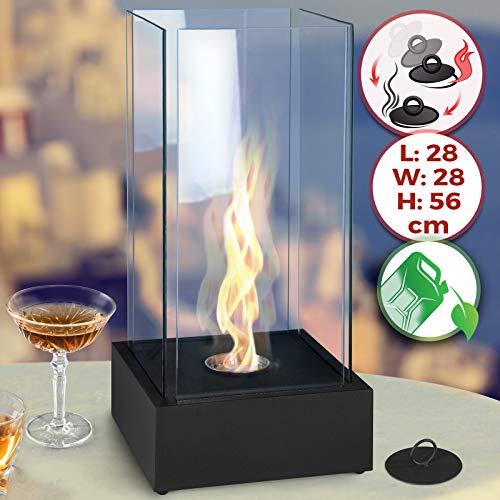 Tischkamin - Edelstahl, Bio-ethanol, für den Innen- und Außenbereich, inkl. Löschwerkzeug, Schwarz - Feuerstelle, Glaskamin, Glasfeuer, Tischfeuer, Tisch-Dekofeuer