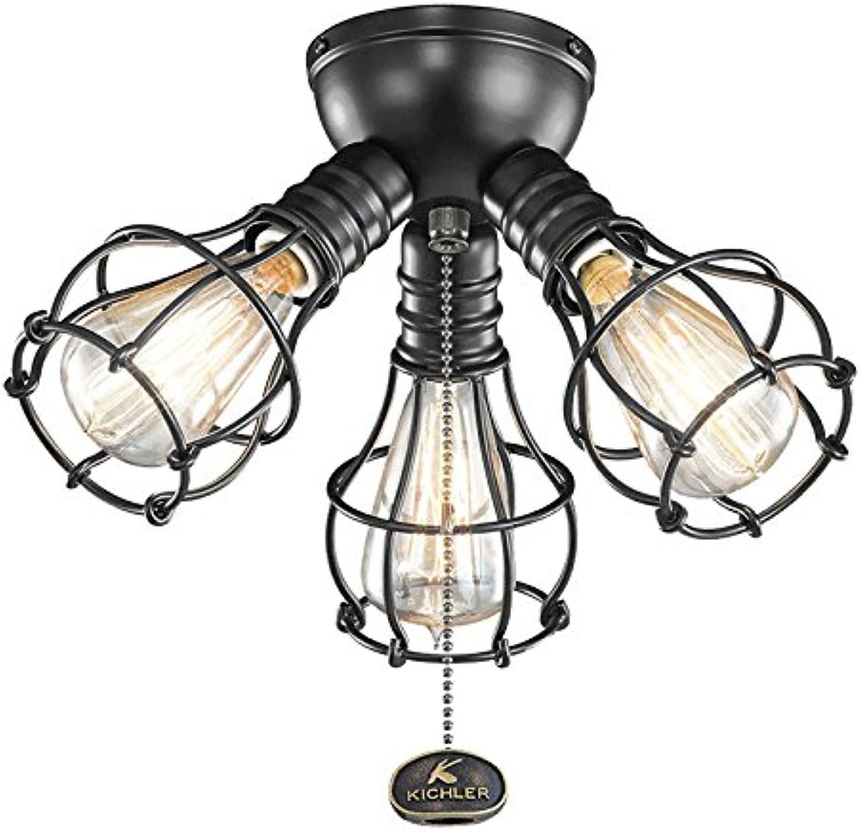Kichler 370041SBK Industrial Ceiling Fan Light Kit in Satin Black, 3-Light