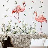 JZLMF Zsz1036C Flamingo Plante Verte Panier Suspendu Stickers Muraux Salon Chambre Fond Décoration Murale Autocollants Muraux Autocollants