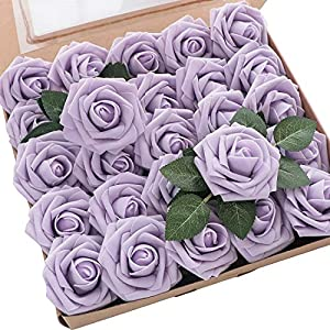 Floroom Artificial Flowers 25pcs Real Looking Lilac Fake Roses with Stems for DIY Wedding Bouquets Baby Shower Centerpieces Floral Arrangements Party Tables Home Decorations
