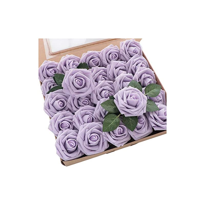 silk flower arrangements floroom artificial flowers 25pcs real looking lilac fake roses with stems for diy wedding bouquets baby shower centerpieces floral arrangements party tables home decorations