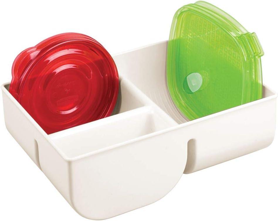 mDesign Organizador de Tapas con 3 Compartimentos – Cesta de almacenaje de plástico para ordenar Tapas – Cestas organizadoras compactas para tapaderas de fiambreras – Color Crema