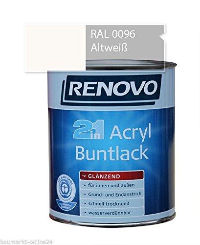 Acryl-Buntlack 2-in-1 125 ml RAL 0096 Altweiß glänzend Renovo
