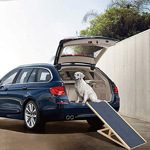 Extra Lange Teleskopierbare Hunderampe, Tragbare Haustierrampe, Ideal für Autos, LKW, Höhenverstellbar mit Holz, 70 X 35 X (30-40) cm