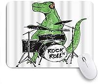 NIESIKKLAマウスパッド 動物音楽ロックNロールスター恐竜ドラム ゲーミング オフィス最適 高級感 おしゃれ 防水 耐久性が良い 滑り止めゴム底 ゲーミングなど適用 用ノートブックコンピュータマウスマット