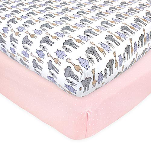 Hudson Baby Unisex Baby Cotton Fitted Crib Sheet, Pink Safari, One Size