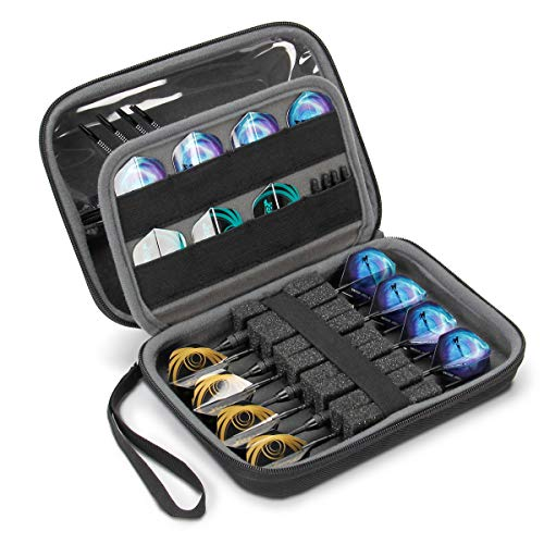 USA GEAR Hard Shell Dart Case - Dart Accessory Case Holder for 8 Darts, Dart Tips, Dart Shafts, Dart Flights, and More Dart Accessories - Compatible with Soft Tip Darts and Steel Tip Darts (Black)