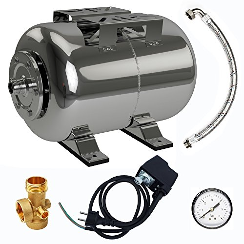 AWM AM-HWW-E24-S Hauswasserwerk Druckkessel 24L Set 5 teilig Membrankessel Edelstahl Ausdehnungsgefäß Druckbehälter