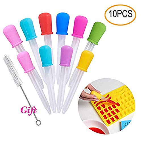 Cheap Hsxfl Liquid Droppers for Kids,Silicone and Plastic Pipettes with Bulb Tip-5 ML Eye Dropper for Candy Molds Gelatin Maker & Gummy Bear Mold- Oils Science,10 PCS