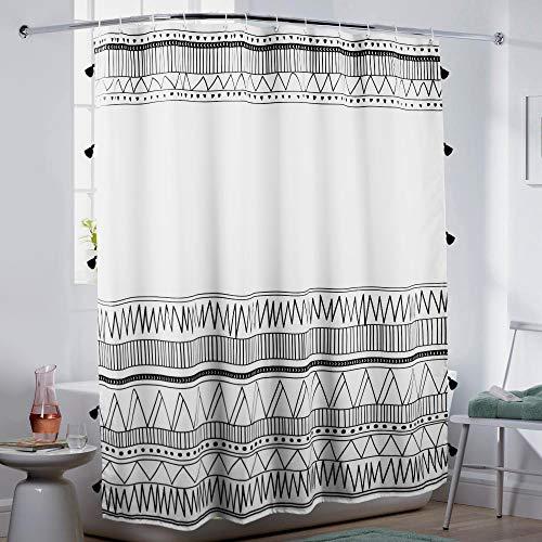 Uphome Boho Fabric Shower Curtain Black and White Shower Curtain Set Geometric Bath Curtains with Chic Tassel, Waterproof Machine Wash for Bathroom Hotel
