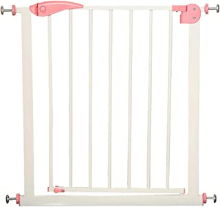 Baby Gate Window Security Bars Steel Frame Isolating Pets Stairs Fence Automatic Closure Expandable, 76cm Height, 57-147cm Wide (Color : Pink, Size : Width 118-125cm)