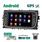CAMECHO Android Car Radio para Ford GPS Pantalla táctil capacitiva de 7 Pulgadas estéreo para automóvil WiFi Bluetooth FM Dual USB para Ford Focus Mondeo C-MAX S-MAX Galaxy II Kuga