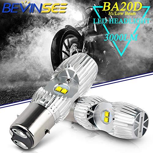 Bevinsee Motorcycle BA20D/H6 Headlight LED White Hi/Low Beam Bulbs,2pcs