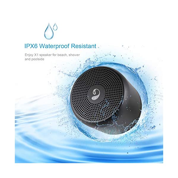 Wireless Bluetooth Speaker, Outdoor Portable Stereo Speaker with HD Audio and Enhanced Bass, Built-in Mic IPX6 Waterproof, Bluetooth 4.2 Handsfree Calling, TF Card Slot (Black) 4