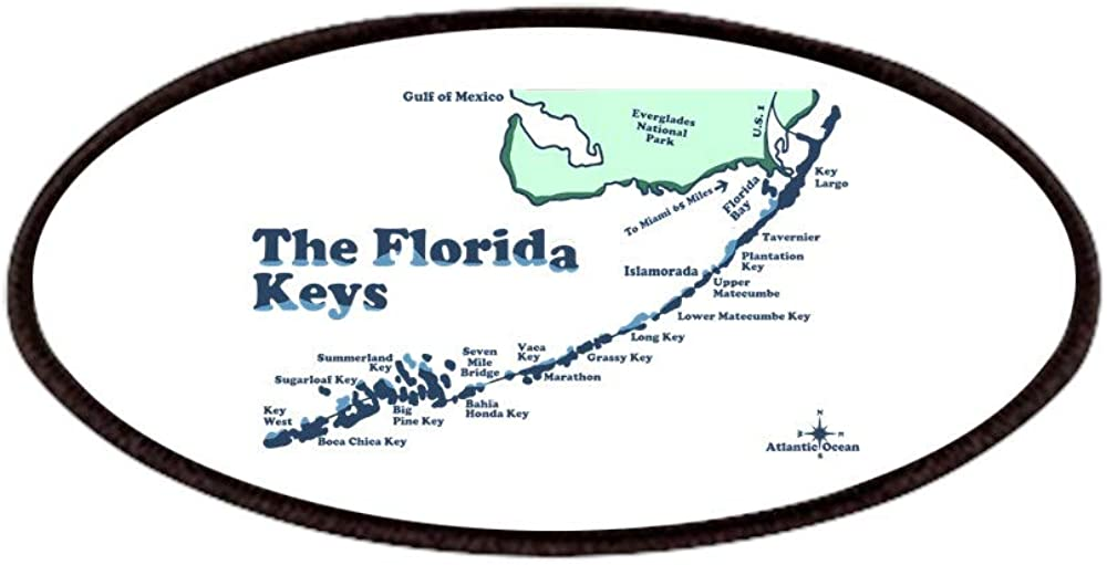 CafePress Florida Keys 70% OFF Outlet Popular Map Design. Patches 4x2in Patch Printed