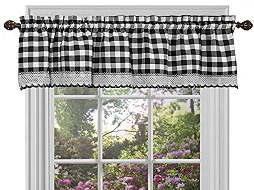 Sweet Home Collection Window Panel Treatment Kitchen Curtain Valance, Black/White