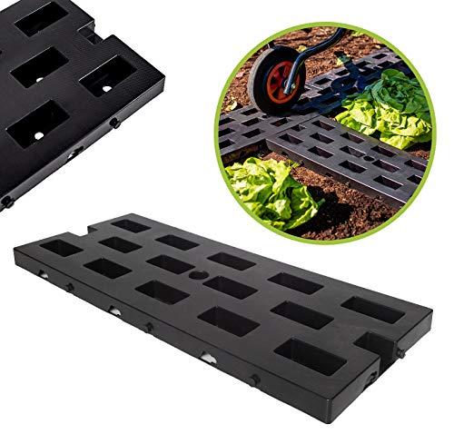 UPP Stabile Garten Wegplatten aus Kunststoff | Wetterfeste und unverwüstliche Beeteinfassungen | Für sicheren Tritt auch auf schwierigem Untergrund [52 x 22 cm, 24 STK.]