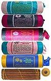 BUDDHAFIGUREN Juego de 5 varitas de incienso tibetano: Loto blanco - Rosa tibetana - Nagchampa - Manzanilla - Flor tibetana