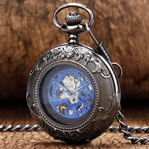SHKUU Reloj Bolsillo Vintage clásico Retro Negro patrón Flores Caja con Cristal Azul número Romano dial Esqueleto mecánico para Regalo cumpleaños Navidad