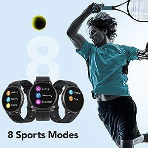 AGPTEK Smartwatch, Reloj Inteligente 1.3 Pulgadas Táctil Completa IP68, Pulsera de Actividad Deportivo Pulsómetro Monitor de Sueño, Control de Musica para Hombre Mujer Adolescentes