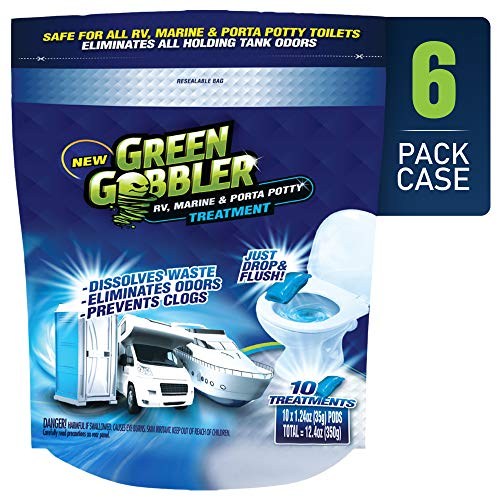 Green Gobbler Holding Tank Deodorizer and Treatment | RV, Marine & Porta Potty Treatment | Prevents Clogs & Waste Build-Up (6 Pack Case)