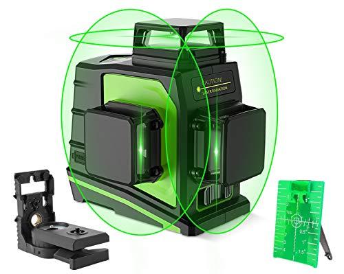 Huepar Nivel Láser 3D, 3x 360 Nivel Laser Verde 45m, 12 Líneas Autonivelador Línea Cruzadas con MODO DE PULSO, 360 Vertical/Horizontal, Batería de Litio Recargable USB y 360° Base Magnético, GF360G