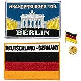 A-ONE 3er Pack - Deutschland Brandenburger Tor Aufnäher + Deutsche Flagge Stickerei Patch + Deutsch Flagge Pin Badge Berlin City Badge Emblem Pin