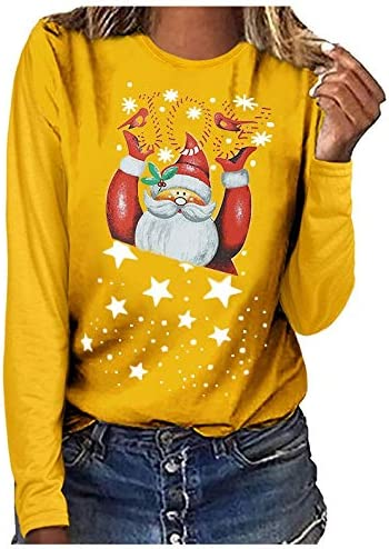 Casual Tops for Women Cute Santa Graphic Claus Attention brand Pullover Printed Outstanding