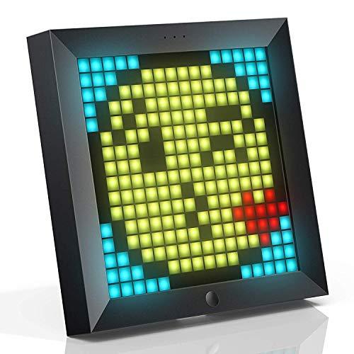 Divoom Pixooデジタルピクセルフォトフレーム、8.6インチのLEDスクリーン搭載、壁目覚まし時計 アプリコントロール、クールなアートフレームプログラム可能なLEDディスプレイ(最大で同時に4個に接続)黒