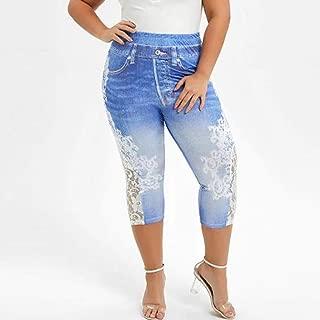 xiaohuoban Women Jeans Denim Drawstring Cropped Pants Wide Leg Palazzo Pants