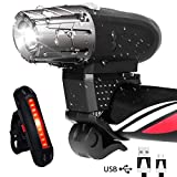 CORNMI Bike light Set, Front and Rear Cycle Lights, USB Rechargeable Mountain & Road Bicycle Light, Waterproof...